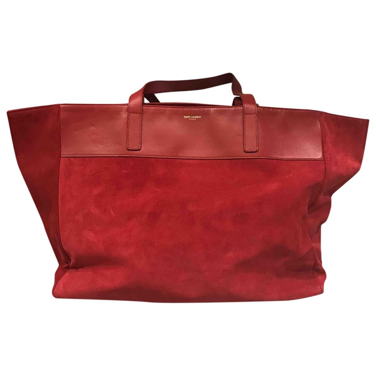 Saint Laurent - Sac a main Shopping pour femme en suede - rouge