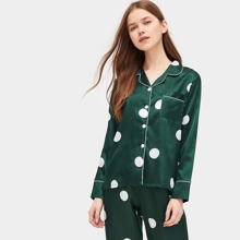 Conjunto de pijama de saten de lunares