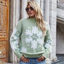 Snowflake Pattern Drop Shoulder Sweater