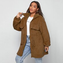 Plus Drawstring Waist Drop Shoulder Teddy Coat