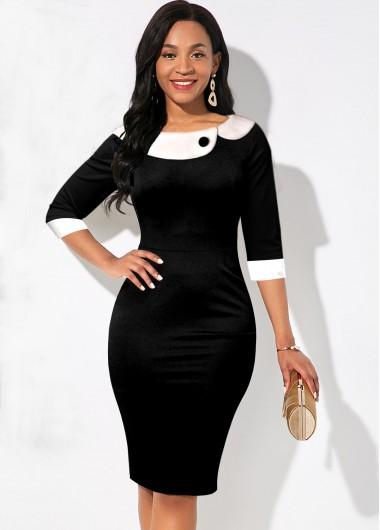 Rosewe Women Black Three Quarter Sleeve Perter Pan Collar Sheath Knee Length Casual Work Drss Black And White Contrast Bodycon Elegant Dress - M