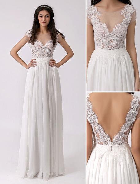 Milanoo Vestido de novia  barato 2020 de chifon con escote transparente y pliegues