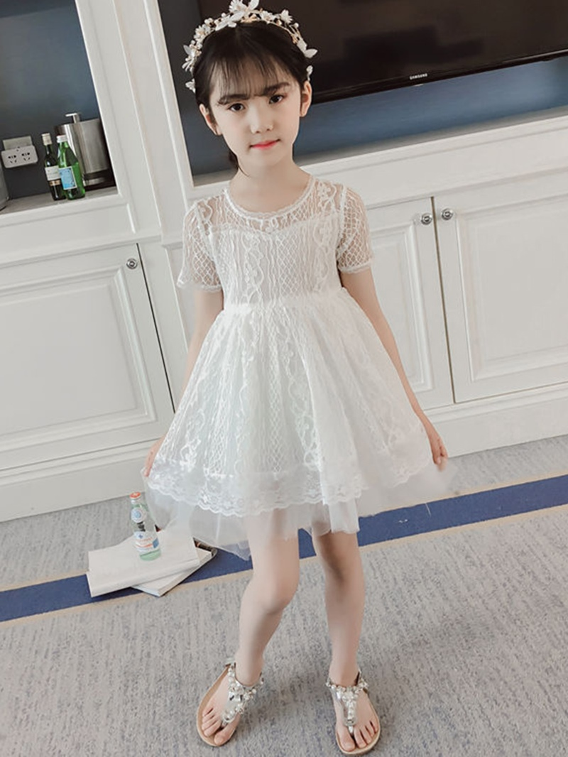 Ericdress Patchwork Lace A-Line Girl's Princess Dress