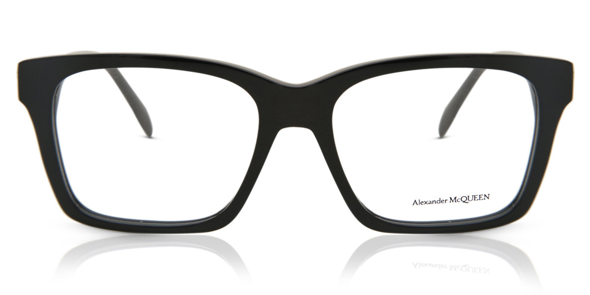 Alexander McQueen AM0283O 001 Men's Glasses Black Size 53 - Free Lenses - HSA/FSA Insurance - Blue Light Block Available