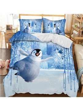 Cute Bouncing Penguin Soft 3D Printed Polyester 3-Piece Bedding Sets/Duvet Covers