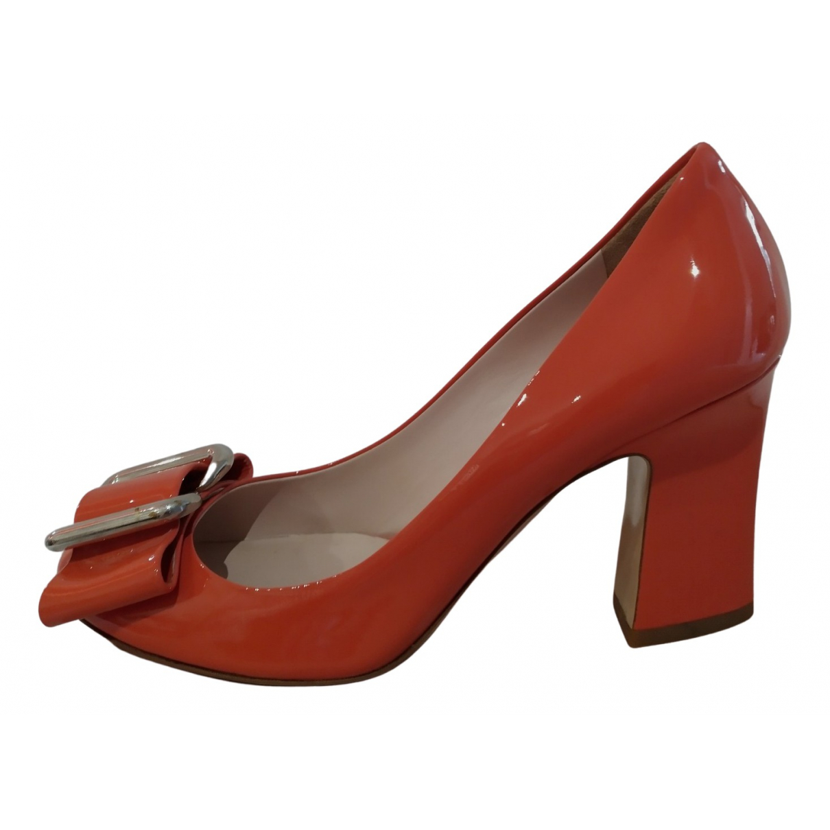 Miu Miu N Orange Patent leather Heels for Women 38.5 IT