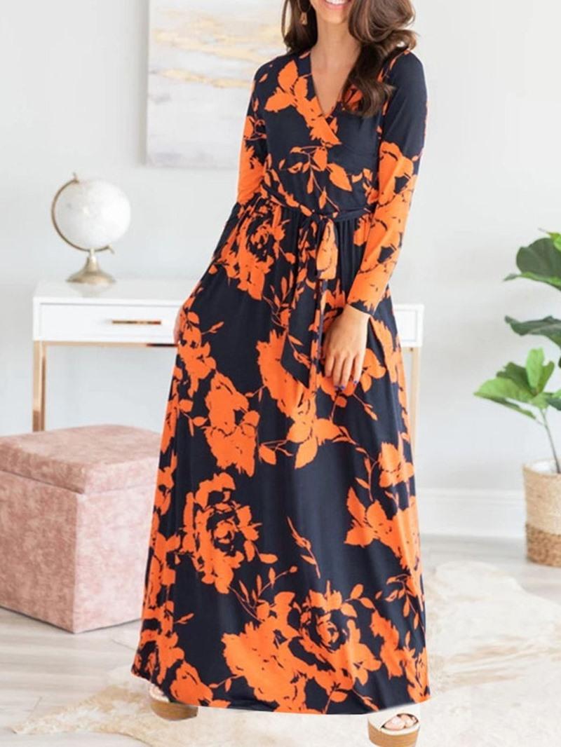 Ericdress V-Neck Floor-Length Print Pullover A-Line Dress