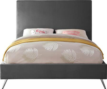 Jasmine JASMINEGREY-T Twin Bed with Gold and Chrome Leg Sets  Full Slats and Velvet Upholstery in