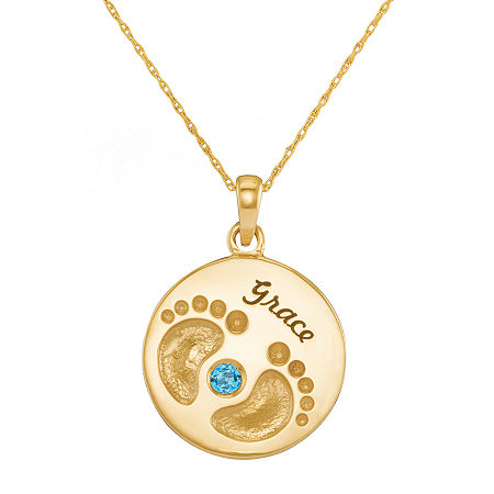 Personalized 10K Yellow Gold Name and Birthstone Footprints Pendant Necklace, One Size , Yellow