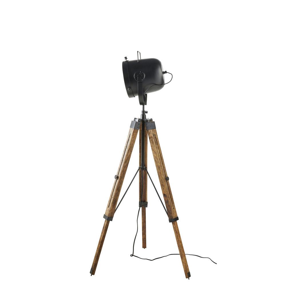 Dreifuss-Stehlampe aus Mangoholz und schwarzem Metall H130