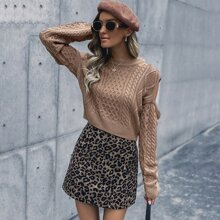 Cable Knit Cut Out Sleeve Crop Sweater