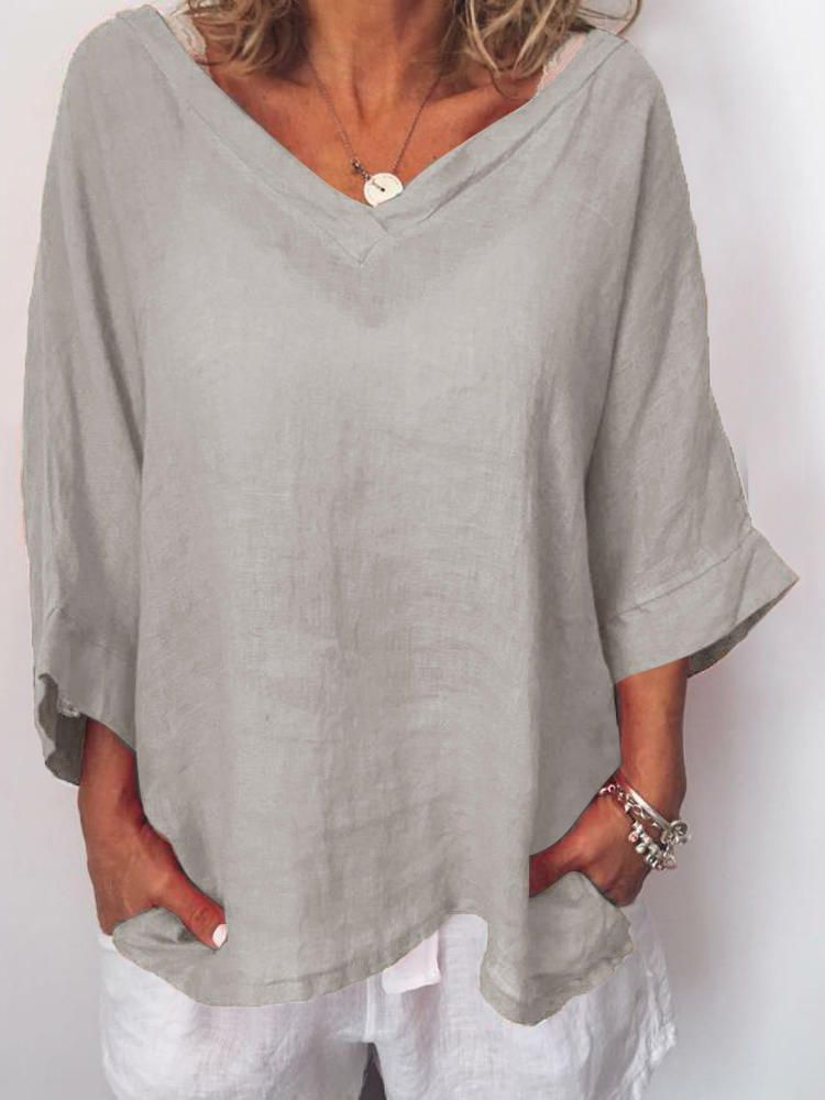 Women Casual V-Neck Solid Color 3/4 Sleeves Blouse