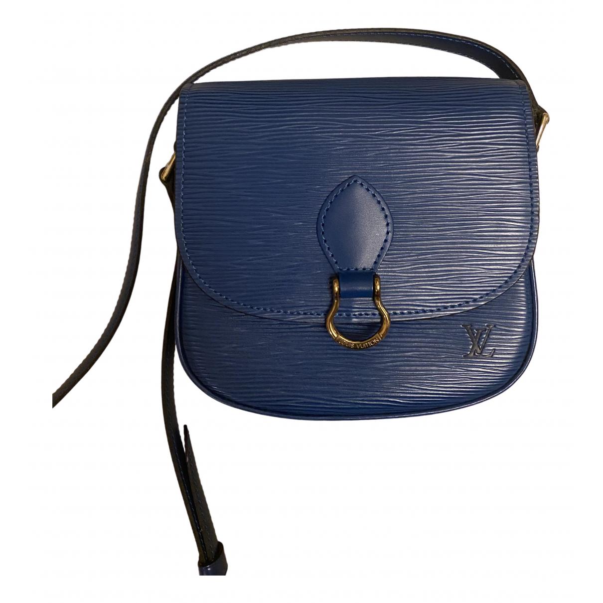 Louis Vuitton - Sac a main Saint Cloud vintage pour femme en cuir - bleu