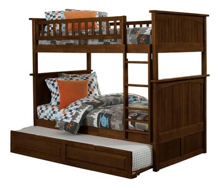 Nantucket Collection AB59134 Twin Over Twin Size Bunk Bed with Twin Size Raised Panel Trundle  Casters  Steel Bolts  Ladder Included and Solid Post