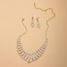 3pcs Hollow Out Rhinestone Decor Jewelry Set