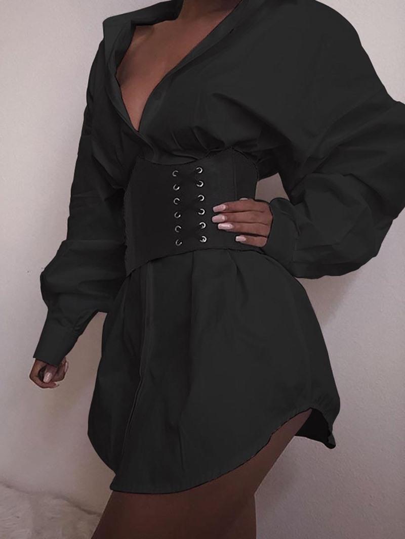 Ericdress Lantern Sleeve Above Knee Polo Neck Single-Breasted Fashion Mid Waist Dress