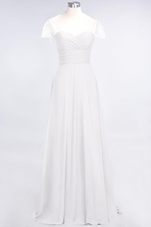 BMbridal Chic Chiffon Sweetheart Cap-Sleeves Ruffle Bridesmaid Dresses with Beadings