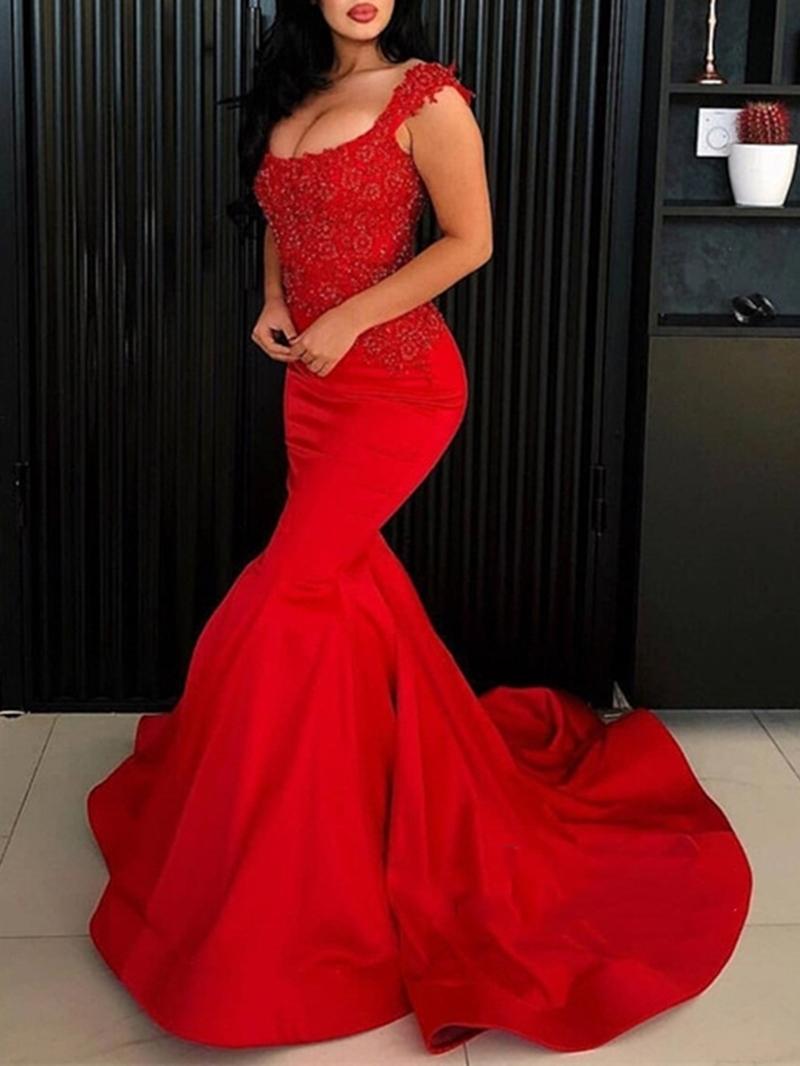 Ericdress Floor-Length Appliques Sleeveless Mermaid Evening Dress