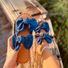Wildleder Sandalen mit Schleife Dekor