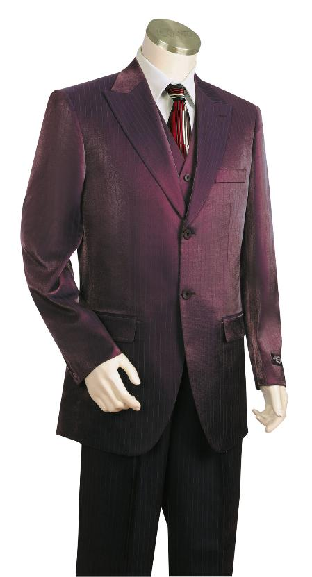 3 Button Suit Wide Leg Pants Wool Feel Dark Wine Tuxedo/Jacket