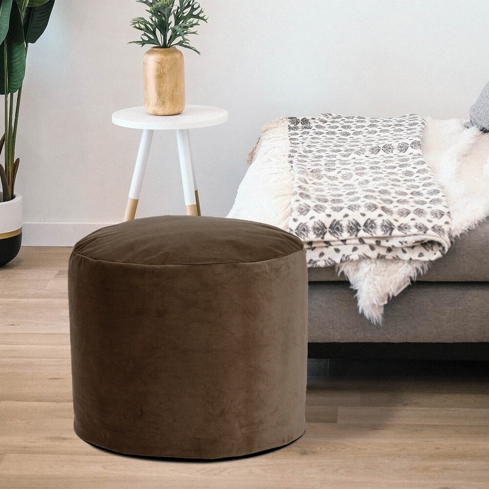 Pouf Ottoman, Tall With Cover, Bella Chocolate (Polystyrene Beads - Single - Brown - Pouf)