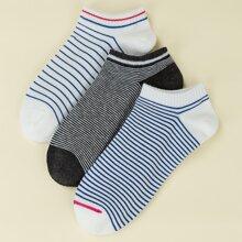 3pairs Striped Pattern Ankle Socks