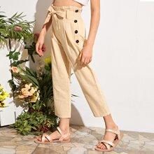 Pantalones capri con cinturon de cintura con volante