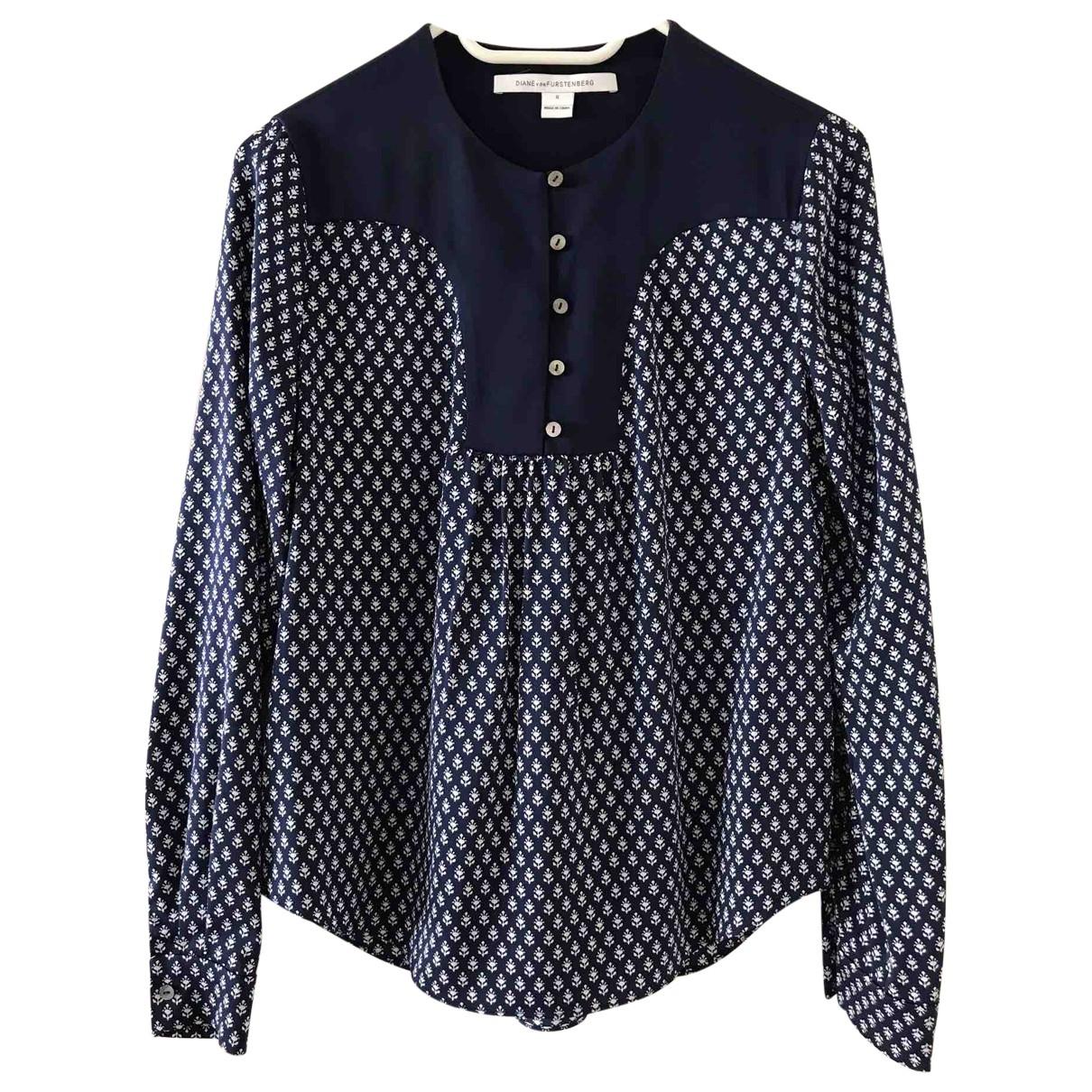 Diane Von Furstenberg - Top   pour femme en soie - bleu