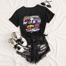 Schwarz Grafik Laessig T-Shirts