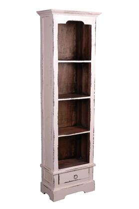 CC-CAB1917TLD-WWRW Cottage Narrow Bookcase in Whitewash Color With Raftwood