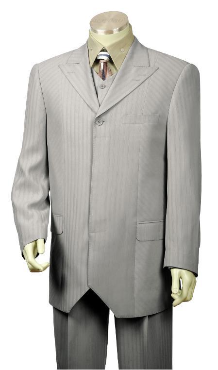 1 Button Grey Vested Zoot Suit Mens