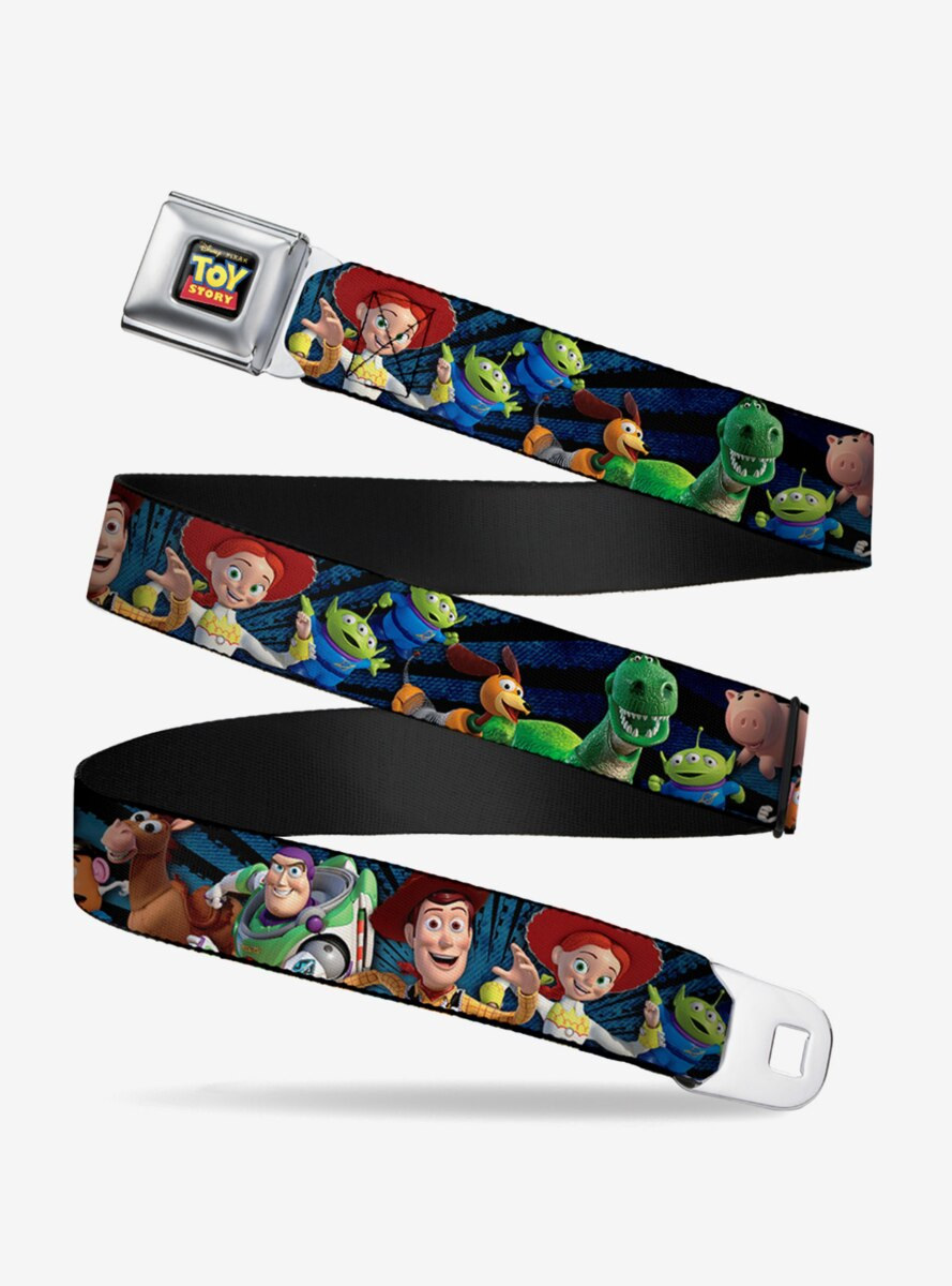 Disney Pixar Toy Story Characters Running Denim Rays Youth Seatbelt Belt