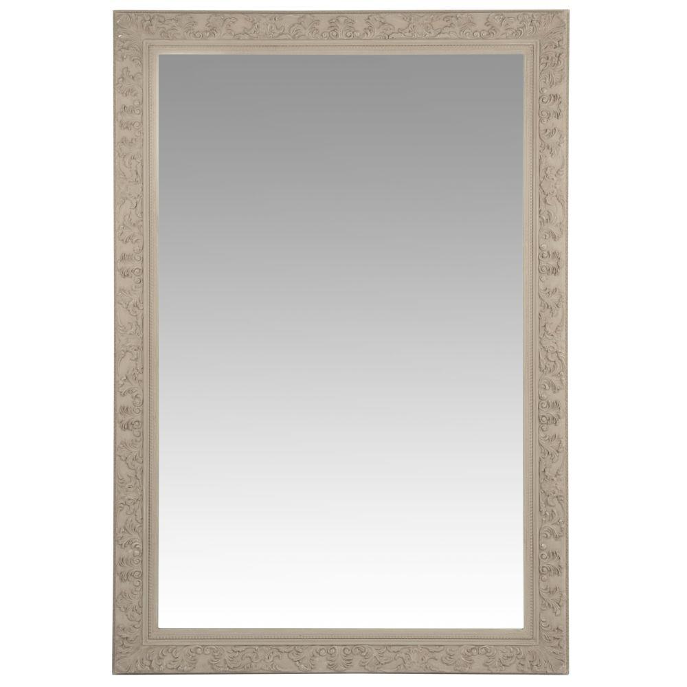 Spiegel mit geschnitztem Rahmen, beige 120x180