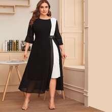 Kleid mit Farbblock, Netzstoff und Falten Detail