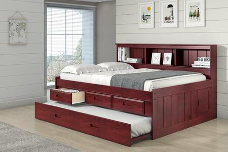 1223-FM_2892-EKT_2890-TM Full Daybed Bookcase Captains Bed With 3 Drawer Storage And Twin Trundle in Merlot