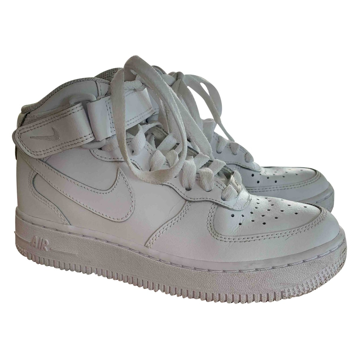 Nike Air Force 1 White Leather Trainers for Kids 36 EU