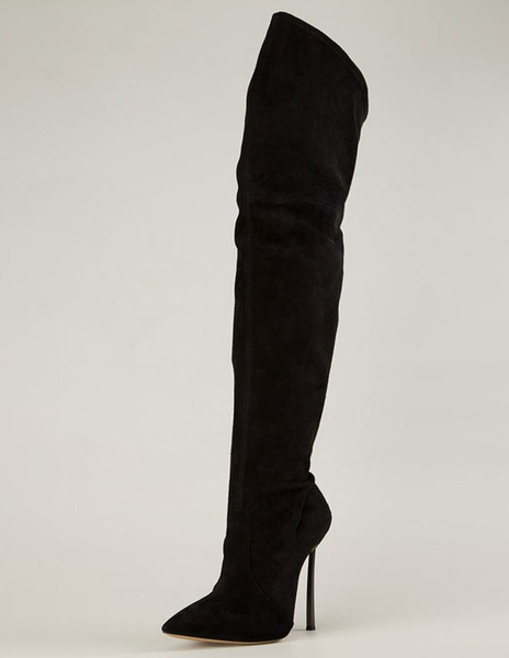 Milanoo Black Thigh High Boots Womens Velvet Pointed Toe Stiletto Heel Over The Knee Boots