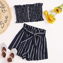 Bandeau Top mit Knopfen, Raffungsaum & Shorts mit Streifen