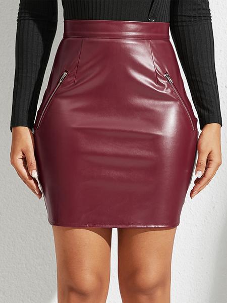 YOINS Burgundy Zip Design High-Waisted Skirt