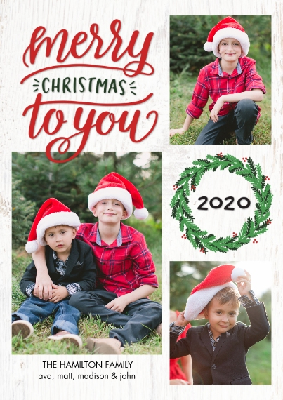Christmas Photo Cards 5x7 Cards, Premium Cardstock 120lb with Elegant Corners, Card & Stationery -Christmas 2020 Festive Wreath by Tumbalina