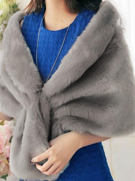 Milanoo Grey Wedding Shrug Faux Fur Stole Fluffy Bridal Wrap Shawl