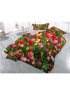 Colorful Tulips Wear-resistant Breathable High Quality 60s Cotton 4-Piece 3D Bedding Sets