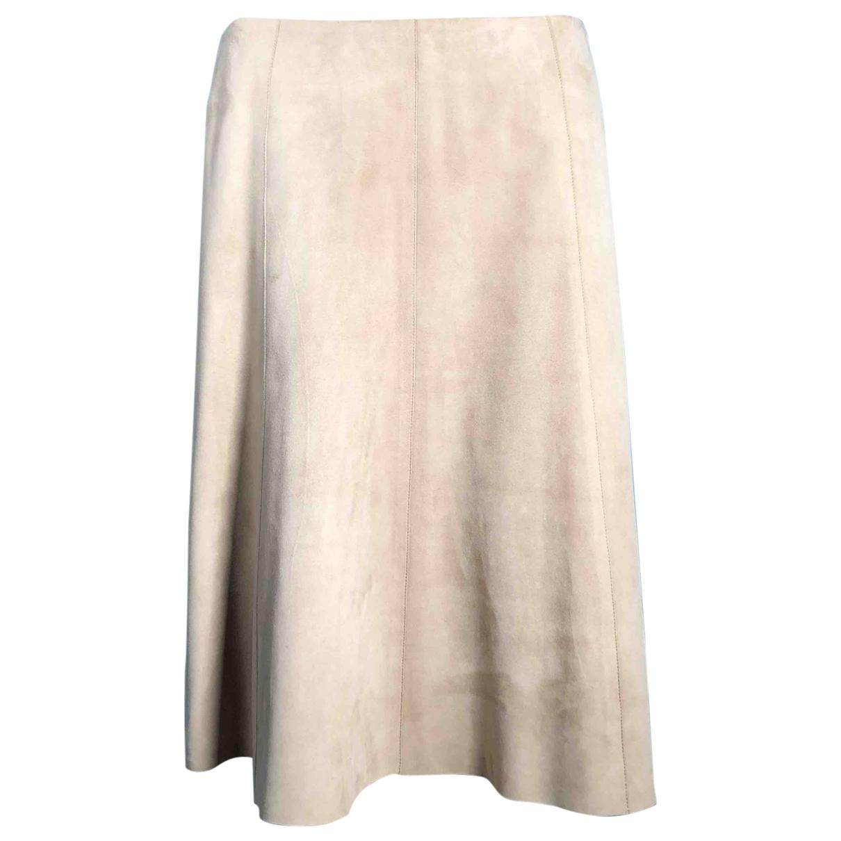 Akris - Jupe   pour femme en suede - beige