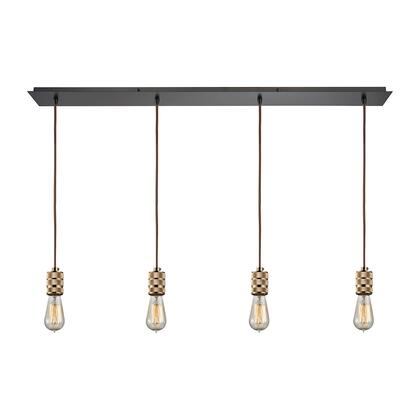 14391/4LP Camley 4 Light Pendant in Polished Gold and Oil Rubbed