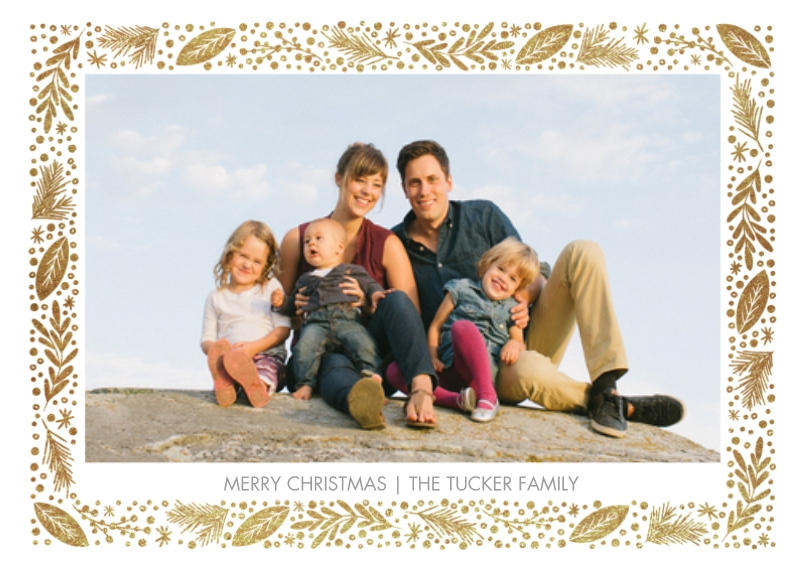 Christmas Photo Cards 5x7 Cards, Premium Cardstock 120lb with Rounded Corners, Card & Stationery -Gilded Border