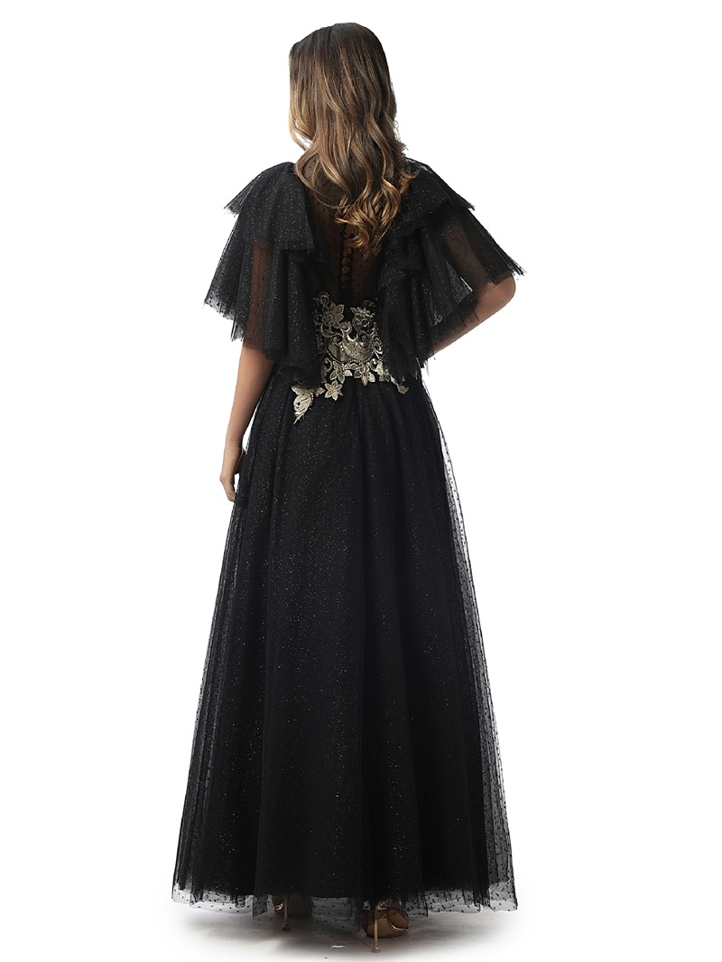 Ericdress Floor-Length Short Sleeves Embroidery Prom Dress
