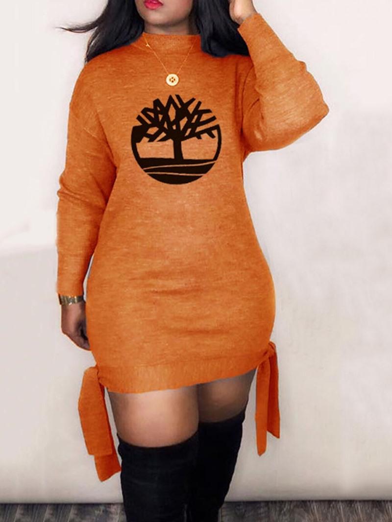 Ericdress Long Sleeve Above Knee Lace-Up Fall Regular Dress