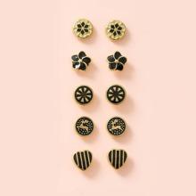 5pairs Girls Floral Stud Earrings