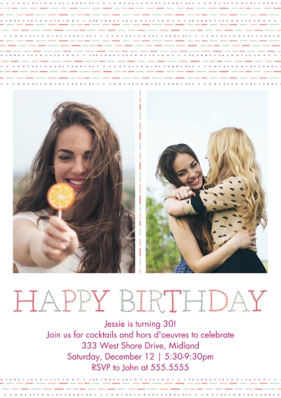 Birthday Party Invites 5x7 Cards, Premium Cardstock 120lb, Card & Stationery -Happy Birthday Pattern Woman