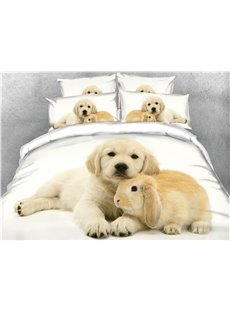 Puppy and Rabbit Digital Printed Cotton 3D 5-Piece Comforter Sets